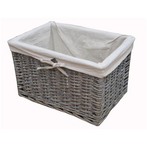 wicker kitchen storage baskets grey wash wicker storage basket lined 1521