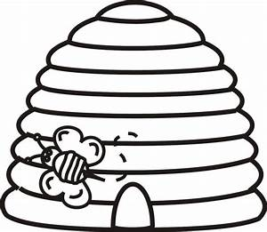 Beehive With Bee Outline - ClipArt Best