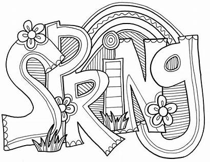 Coloring Spring Pages Printable Words