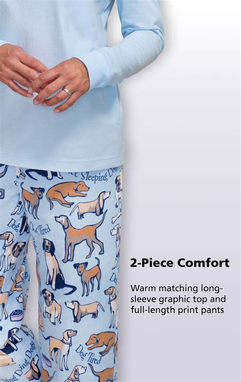 dog tired jersey top flannel pajamas  flannel pajamas