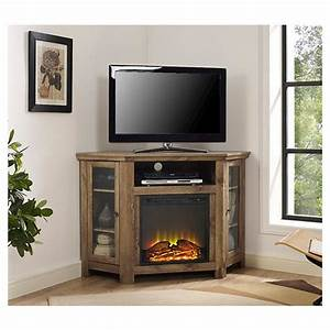 "48"" Wood Corner Fireplace Media TV Stand Console ..."