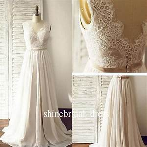 Bohemian 2017 wedding dresses v neck low back lace chiffon for Bohemian beach style wedding dresses