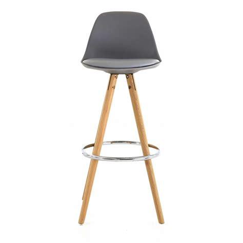 chaise de bar grise chaise haute de bar grise trépied en bois style scandinave