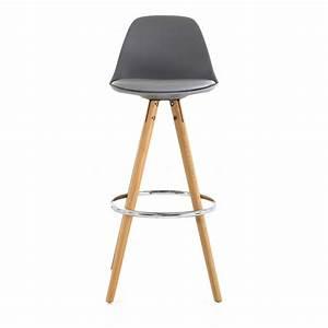 Chaises Hautes Cuisine : chaise haute de bar grise tr pied en bois style scandinave mooviin ~ Teatrodelosmanantiales.com Idées de Décoration