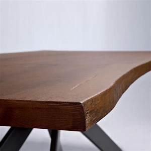 Tavolo piano legno massello base acciaio Samoa ArredaSì
