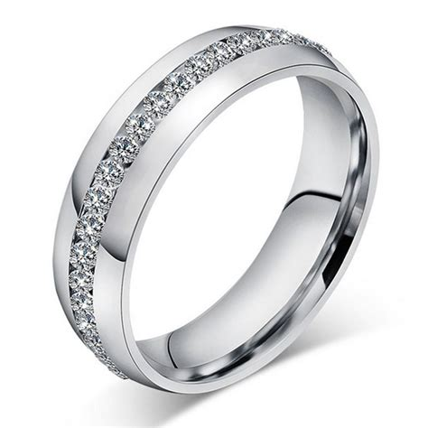 Men Women Stainless Steel Wedding Engagement Silver Band