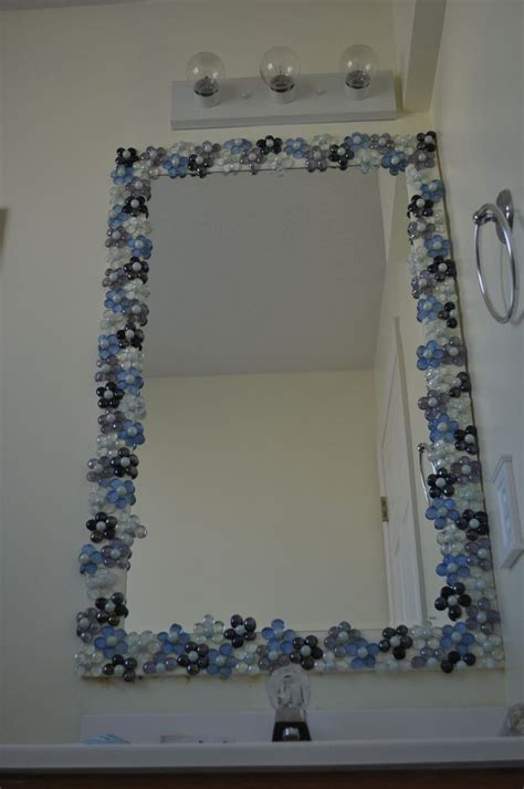 bathroom mirror decorating ideas glass gems with pearl marble centers to dress up a