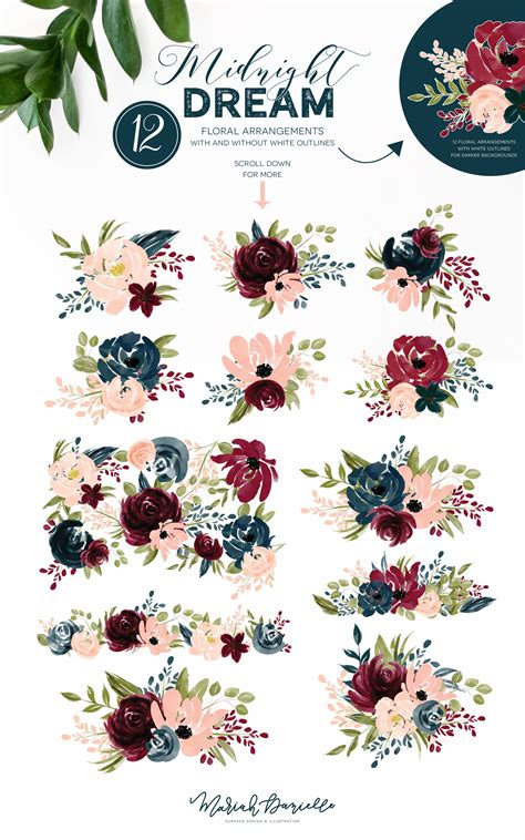 burgundy navy flower graphic set illustrations hand drawn floral illustrations diy