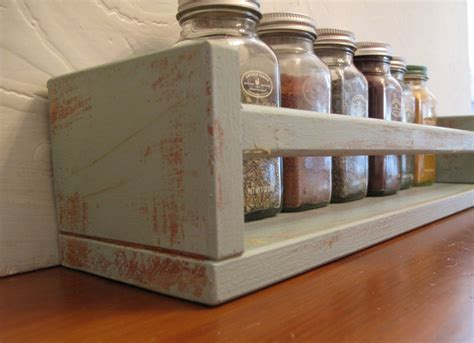 Stand Alone Spice Rack by Wood Spice Rack Distressed In Duck Egg By Vintagechichibean
