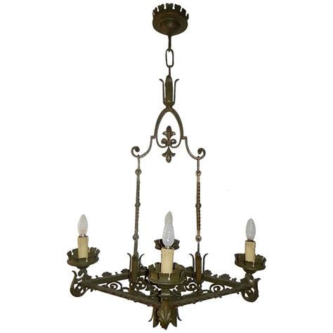green fleur de lis wrought iron chandelier for sale