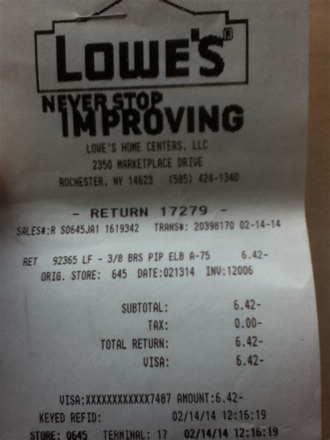 lowes return without receipt edge