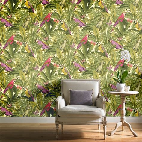 grandeco botanical trees leaves pattern wallpaper birds