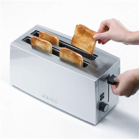 langschlitztoaster 4 scheiben graef toaster 4 scheiben langschlitztoaster to 100 silber 2 lange schlitze f 252 r 4 scheiben