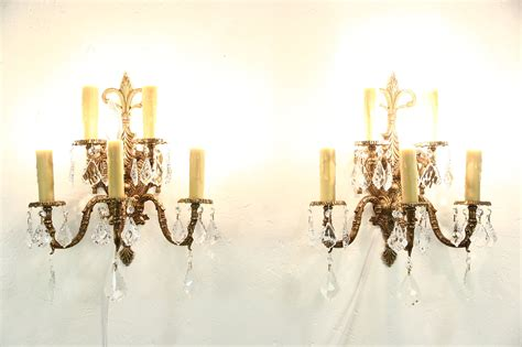sold pair of vintage bronze 5 candle wall sconce light fixtures crystal prisms harp gallery
