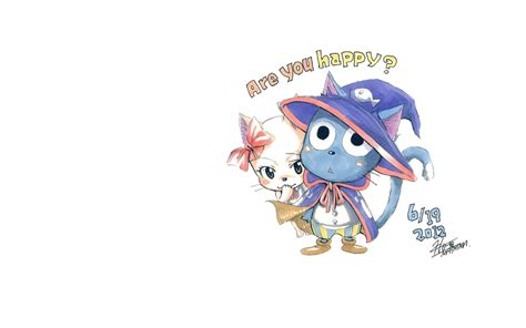 fairy tail white background cats drawn happy fairy tail