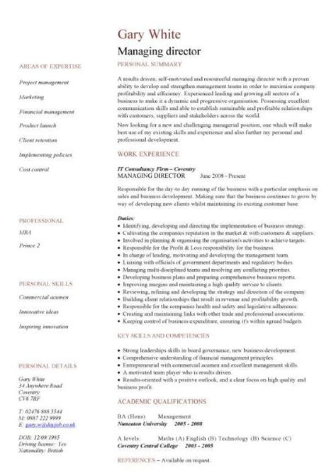 Band Director Curriculum Vitae by Managing Director Cv Sle Managerial Cvs Curriculum