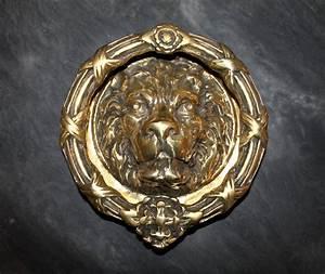 Antique, Solid, Brass, Large, Lions, Head, Door, Knocker