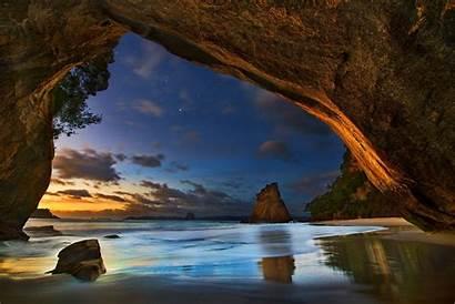 Cave Sunset Sea Landscape Nature Clouds Stars