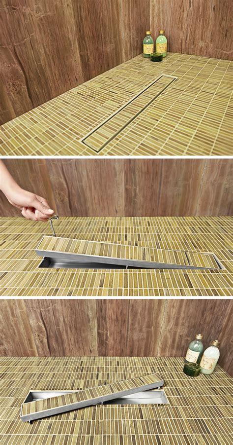 bathroom design idea include  linear shower drain