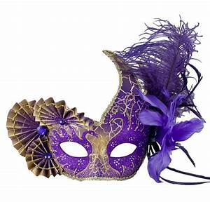 Fan Feather Side Gold And Purple Mask - Venetian for ...
