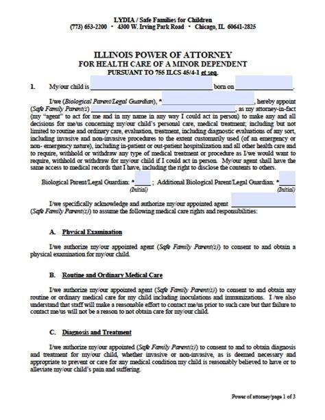 illinois minor child power  attorney form power