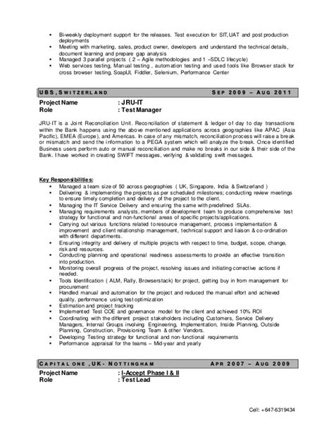 test manager sle resume 28 images sle cv of software