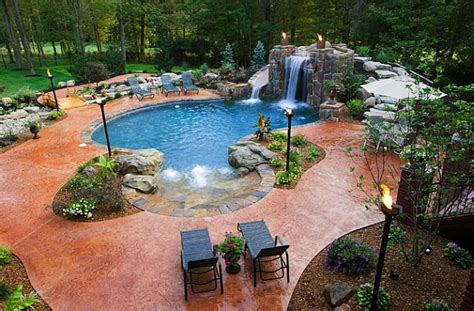 Cool Backyard by Breathtaking Pool Waterfall Design Ideas