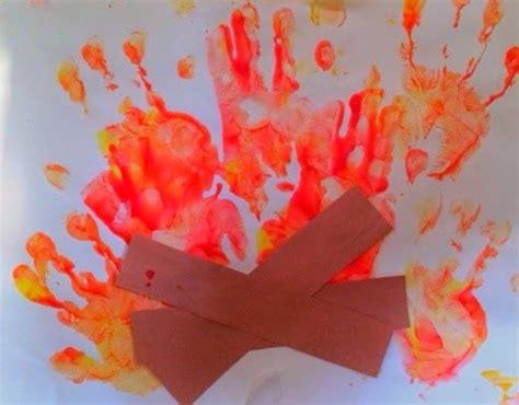 campfire handprint art   printable template