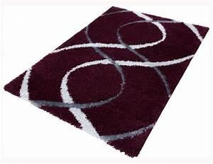 Antirutschmatte Teppich Auf Teppich : teppich shaggy portofino hochflor teppich modern 200x290 cm violett grau ~ Markanthonyermac.com Haus und Dekorationen