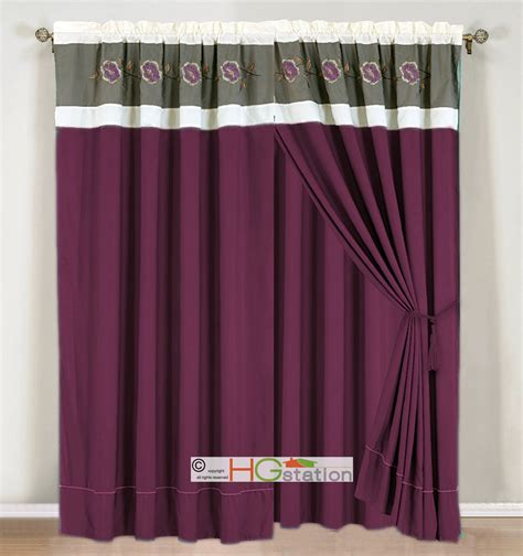 4p embroidery floral striped curtain set plum purple