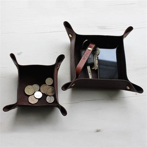 mens leather valet tray desk tidy leather valet tray and desk tidy set by hide home