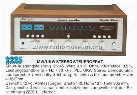 Stereophonic Receiver 2225 Radio Marantz; Itasca, Build 1976