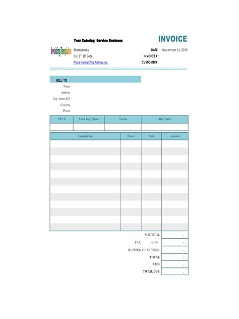 catering receipt examples samples