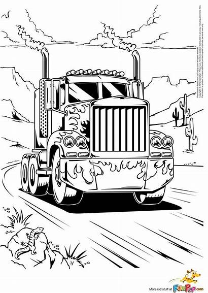 Coloring Truck Semi Pages Boys