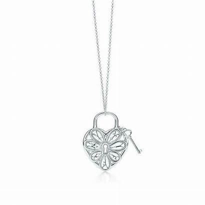 Necklace Key Lock Tiffany Heart Filigree Retired