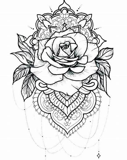 Coloring Adults Tattoo Rose Roses Tattoos Printable