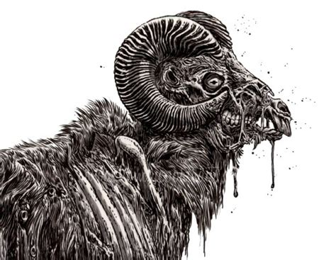 zombie zoo animals undead ram zombie art  rob sacchetto