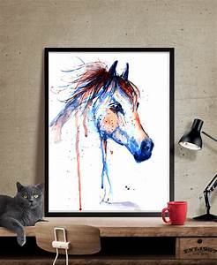 Horse art decor watercolor painting wall