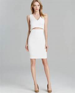 John Varvatos Size Chart Lyst French Connection Dress Stretch Slit In White