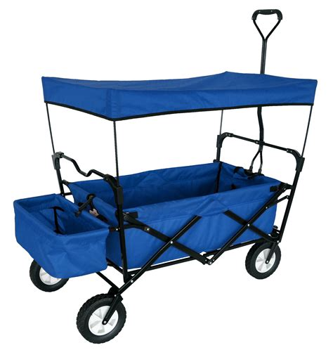 wagon with canopy blue folding wagon w canopy garden utility travel cart
