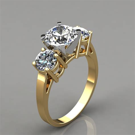 three stone designer engagement ring puregemsjewels