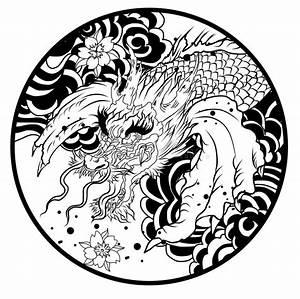 Hand Drawn Koi Fish In Circle, Japanese Carp Line Drawing ...