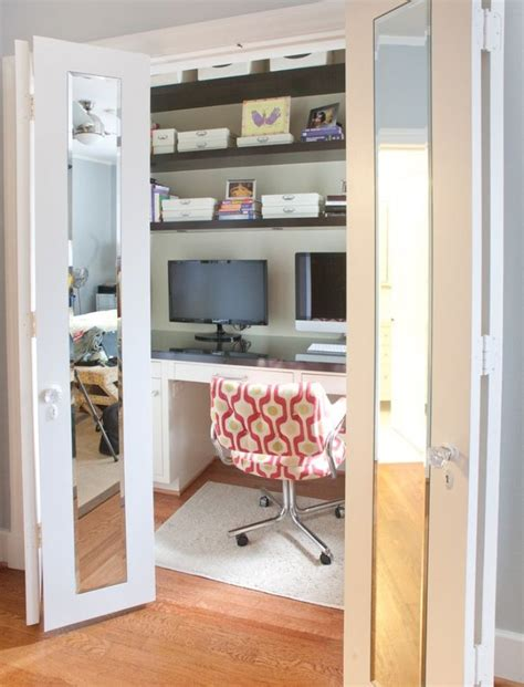 closet converted into office home decorating