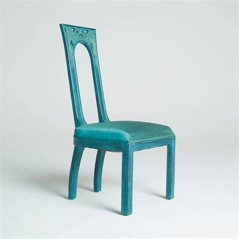 set of eight carved green blue dining chairs by mont