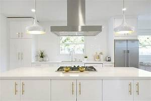 white and gold kitchen with long brushed brass pulls With what kind of paint to use on kitchen cabinets for mid century brass wall art