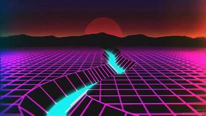 Neon Retro Wave Synthwave Horizon Computer Reflection