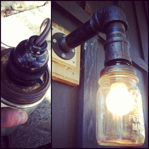 iron pipe light fixture diy mason jar porch light black iron pipe for the arm