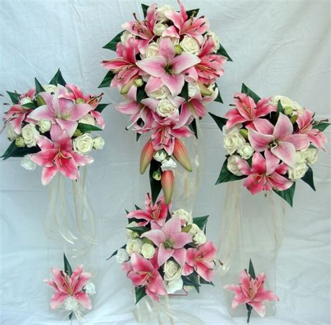 wedding bouquet set real touch pink lily ivory roses ebay