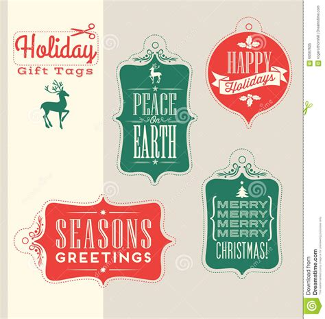 christmas holiday gift tags vintage typography design elements stock vector image 60567605