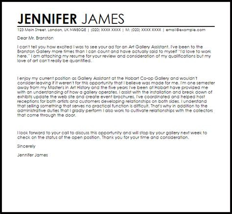 Gallery Internship Resume by Gallery Assistant Cover Letter Sle Livecareer